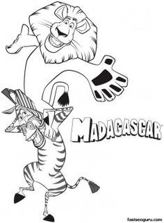 Printable madagascar 3 Alex and Marty are having fun coloring pages - Printable Coloring Pages For Kids