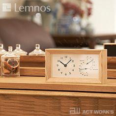 《全2色》LEMNOSFRAME温湿度計付き置き時計