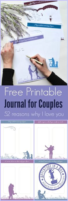 Looking for a unique romantic gift for your partner for Valentine's Day or anniversary? Give this free printable Q&A journal for couples with 52 reasons of why you love them!