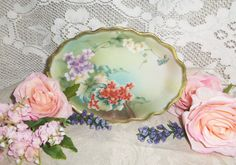 Handpainted Bone China Plate  Vintage by MeadowCottageGifts, $24.99