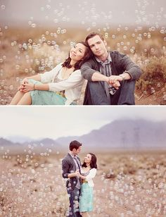 A Romantic Engagement Shoot in the Desert with Bubbles