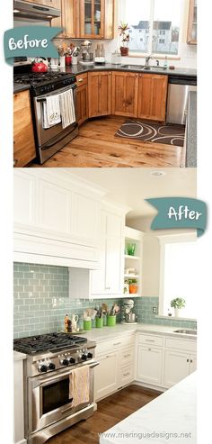 I like the way the cabinets go all the way up to the ceiling, Gorgeous white kitchen makeover with turquoise subway tile.