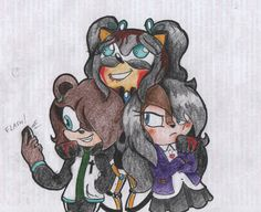 It's a request that i made for three girls on deviantart. I hope you like it  Oc Ocs Original character Sonic the hedgehog yandere tsundere selfie photo phone blood bear
