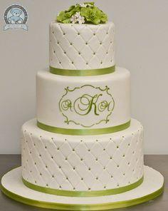 Beautiful white & green cake