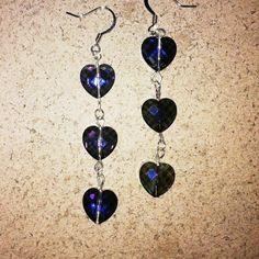 Three Tier Purple Heart Dangle Earrings for by RileyJewelryDesigns, $20.00