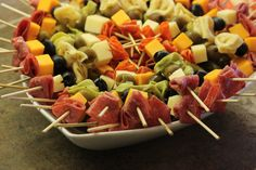 Meat and cheese skewers - make ahead of time and take with. Quick lunch or dinner.