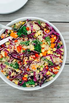 Rainbow Quinoa Salad with Tahini Ginger Dressing