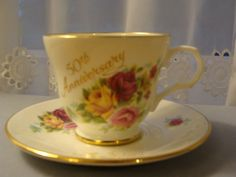 CROWN TRENT CHINA 50TH ANNIVERSARY TEA CUP AND SAUCER WITH ROSES DESIGN #CROWNTRENT