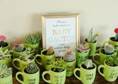 With a few simple supplies and these free printable instructions, you can make t. - With a few simple supplies and these free printable instructions, you can make these cacti mug party favors for your baby shower. Boho Baby Shower, Fiesta Baby Shower, Shower Bebe, Baby Shower Party Favors, Baby Shower Parties, Shower Gifts, Baby Shower Themes, Baby Boy Shower, Baby Shower Decorations