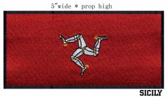 "The Isle of Man, Flag 3"" wide shipping/three armoured legs  /golden spurs/red flag #Affiliate"