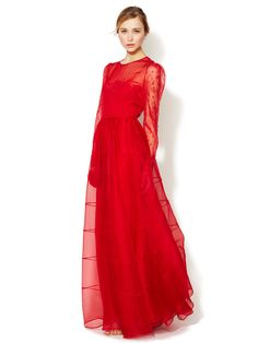 Silk Embroidered Bodice Long Sleeve Gown by Valentino at Gilt