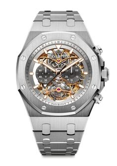 Audemars Piguet Royal Oak Tourbillon Chronograph Openworked in titanium - the watch's manufacture movement, manual-winding Caliber 2936, consists of 299 parts, including 28 jewels, and has a frequency of 21,600 vph and a power reserve of 72 hours.