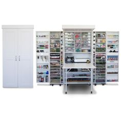 DreamBox Is A Storage Cabinet Meets Workspace For Crafters - ScrapBox Craft Room Organizers Craft Room Storage, Storage Spaces, Craft Storage Cabinets, Fabric Storage, Cupboard Storage, Locker Storage, Diy Locker, Craft Cupboard, Craft Armoire