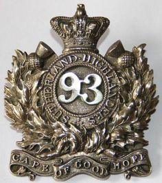 93rd HIGHLANDERS OFFICERS FEATHER BONNET BADGE