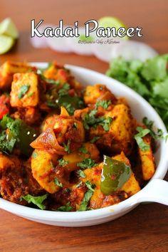 KADAI PANEER – Ruchi's Veg Kitchen Fresh Coriander, Coriander Seeds, Kadhai Paneer, Dried Chillies, Paneer Recipes, Sauteed Vegetables, Tandoori Chicken, Food Videos, Spicy