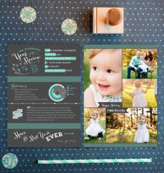 Mint Year in Review Photo Cards - Printable Holiday Infographic Newsletter Cards - Double-sided - Printable or Printed Christmas Cards