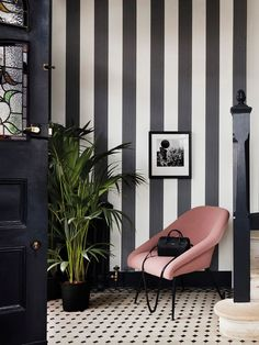 68 ideas striped wallpaper bedroom black and white Wallpaper Bedroom, Decor, Stripe Wallpaper Bedroom, Decor Design, Striped Walls, Black And White Wallpaper, Home Decor, Room Decor, Hallway Decorating