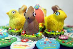 Pulcini e coniglieti pasquali di cioccolato ricoperti con pasta di zucchero