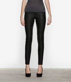 Low rise pant with a skinny leg. Made with garment washed Italian leather.