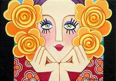 Chica Abrazado por las flores II por Mariangeles Puente Duran