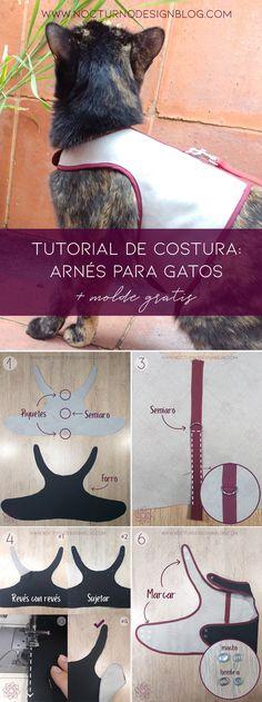 Costura fácil: Arnés para gatos + molde gratis – Nocturno Design Blog Design Blog, Anubis, Pet Clothes, Kitten, Bunny, Yin Yang, Sewing, Pets, Animals