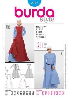 Tutorial / Purchase - Burda 7977 actually has more or less historically accurate seam lines, from what I can tell.  Could be made more flattering by altering the neckline.