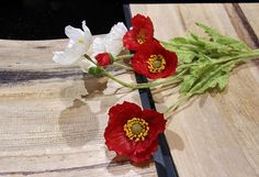 3 flower1 bud Artificial flower fashion small poppy home decoration flower silk flower