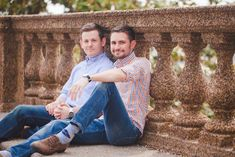Coordinated plaid with blue chambray and denim is making our hearts melt. Justin and Nathan's city engagement photography session in Washington, D.C.  (See more and read their love story on Equally Wed, the world's leading same-sex wedding magazine and website for gay, lesbian, transgender, queer and bisexual couples. equallywed.com) Photo by Casey Hendrickson