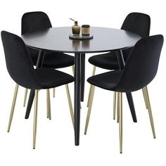 Dining table in a trendy design made of metal and MDF with black pins and a round black board. Size: with height Dining Chairs, Dining Table, Sofa, Furniture, Home Decor, Bed, Metal, Black, Decorative Baskets