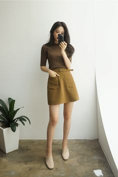 korean fashion green yellow dark dull shirt brown skirt