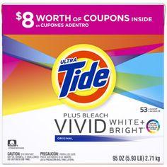 Ultra Tide Plus Bleach Vivid White + Bright Original Powder Laundry Detergent, 95 oz