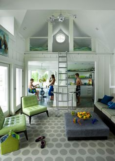 www.twineinteriors.com  small space living, sleeping loft, ladder, modern cottage, modern pool house
