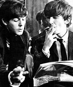 Paul McCartney and George Harrison (hate the cigarette tho!) (Bing Images!)
