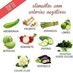 AlimenAlimentos com calorias negativas, são aqueles que necessitam de mais calorias para serem digeridos, por isso abuse! mas nada de usa los com molhos e cremes gordurosos e cheio de calorias!