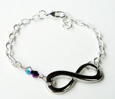 Infinity Silver Bracelet Sideways Charm Connector by BijiBijoux,