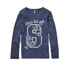 T-shirt in jersey, manica lunga, girocollo con stampa frontale.3P7HC112Z blue