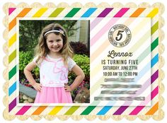 Colorful striped invitations set the tone for a fun birthday party.