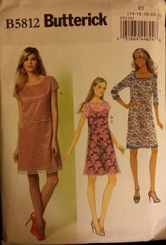 Butterick Pattern B812 Ladies Dress and Slip sizes 14-22 FREE SHIPPING