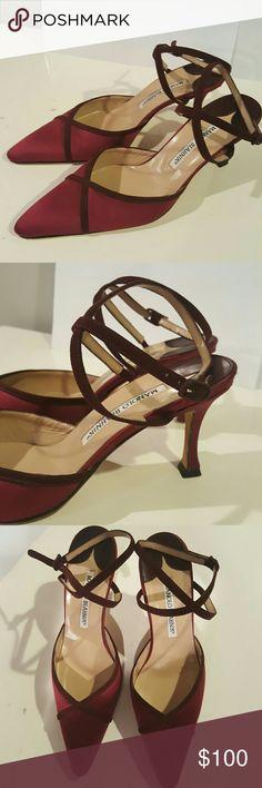 Manolo Blahnik red satin heels In great pre owned condition - worn once Manolo Blahnik Shoes Heels