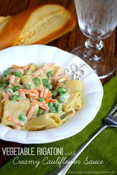 Vegetable Rigatoni with Creamy Cauliflower Sauce | The Healthy Family and Home