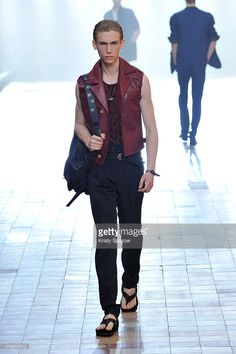 A model walks the runway during the Lanvin Menswear Spring/Summer 2016 show as part of Paris Fashion Week on June 28, 2015 in Paris, France.