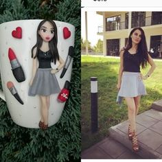 Fimo Clay, Polymer Clay Crafts, Biscuit, Skater Skirt, Crystals, Skirts, Cups, Women, Art
