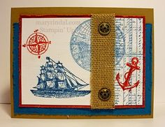 {scrap and stamp with mary}: Stamp Review Crew: Open Sea Edition Stamps: The Open Sea Ink: Cherry Cobbler, Island Indigo Cardstock: Baked Brown Sugar, Island Indigo, Cherry Cobbler Accessories: Antique Brads, Burlap Ribbon, Crystal Effects