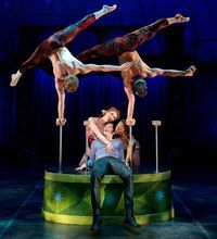 Matthew James Thomas is seated, center, in the Broadway musical 'Pippin' about the young price looking for adventure!