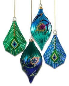 peacock glamour glass ornament set - Peacock Christmas Decorations