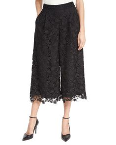 Diane Von Furstenberg Cropped Lace Trousers In Black Fashion Pants, Girl Fashion, Fashion Dresses, Lace Pants, Lace Skirt, Pants For Women, Clothes For Women, Formal Wear, Diane Von Furstenberg