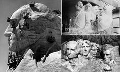Construction of Mont Rushmore by Gutzor Borglum's - MemorialWashington, Jefferson, Roosevelt & Lincoln © Rise Studio
