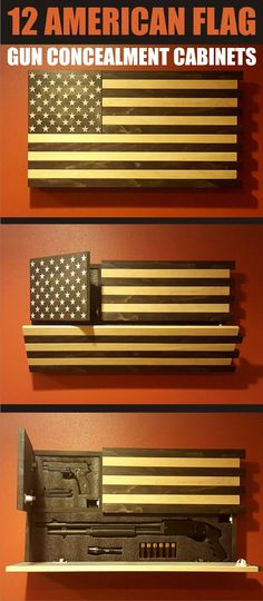 12 great American Flag gun concealment cabinets.  made to fit all kinds of guns.  Great reclaimed wood look. 2nd Amendment #ad