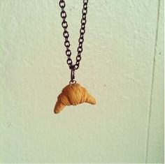 Croissant/crescent roll necklace polymer clay by FlowerChildCharms maybe a key chain  or necklace Hand Made! your choice!