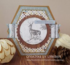 Hexagon stag card made using the new #wildatheart #firsteditionpapers from @trimcraft